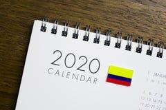 Calendário da bandeira de Colômbia 2020 imagens de stock royalty free