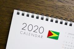 Calendário da bandeira de Guiana 2020 foto de stock royalty free