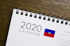 Calendário da bandeira de Haiti 2020 fotos de stock