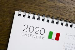 Calendário da bandeira de Itália 2020 foto de stock royalty free