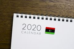 Calendário da bandeira de Líbia 2020 imagem de stock royalty free