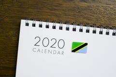 Calendário da bandeira de Tanzânia 2020 foto de stock