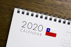 Calendário da bandeira do Chile 2020 imagem de stock