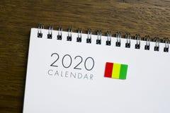 Calendário da bandeira da Guiné 2020 imagens de stock royalty free