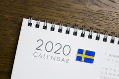 Calendário da bandeira da Suécia 2020 imagem de stock