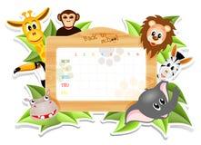 Calendário da escola com animais ilustração do vetor