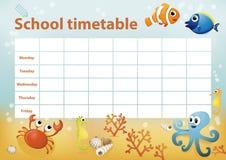 Calendário da escola com os animais de mar dos desenhos animados no fundo Fotografia de Stock Royalty Free
