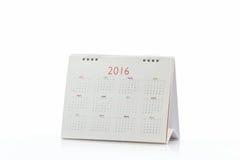 Calendário 2016 da espiral da mesa do Livro Branco Imagens de Stock