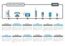 Calendário 2020 da evolução do telefone ilustração do vetor