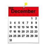 Calendário 2017 da folha com o mês de dezembro ilustração do vetor