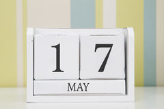 Calendário da forma do cubo para o 17 de maio Foto de Stock