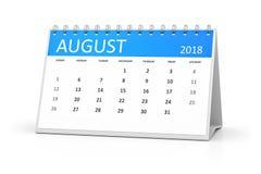 Calendário 2018 da tabela august Fotografia de Stock Royalty Free