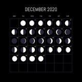 Calendário das fases da lua por 2020 anos dezembro Projeto do fundo da noite Ilustra??o do vetor ilustração royalty free
