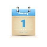Calendário data página ano novo o 1º de janeiro ilustração do vetor