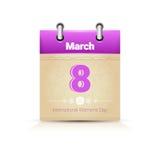 Calendário data página mulher dia o 8 de março ilustração royalty free