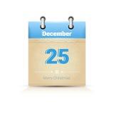 Calendário data página Natal o 25 de dezembro ilustração royalty free