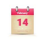 Calendário data página Saint Valentine Day o 14 de fevereiro ilustração royalty free