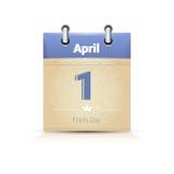 Calendário data página tolo dia o 1º de abril ilustração stock