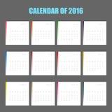 Calendário de 2016 Fotos de Stock Royalty Free