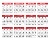 calendário de 2016 anos Fotografia de Stock Royalty Free