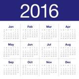 calendário de 2016 anos Imagens de Stock