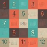calendário de 2016 anos Fotos de Stock Royalty Free