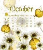 Calendário de Autumn October com vetor dourado das folhas Decorações do estilo da aquarela da queda ilustração stock