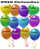 calendário de 2015 balões Fotografia de Stock