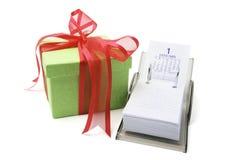 Calendário de caixa e de mesa de presente Imagem de Stock Royalty Free