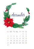 Calendário de dezembro Imagens de Stock Royalty Free