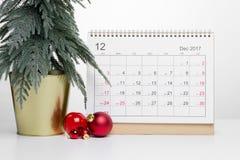 Calendário 2017 de dezembro do Natal Foto de Stock Royalty Free
