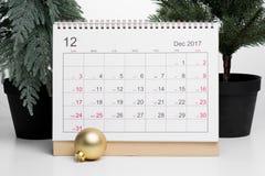 Calendário 2017 de dezembro do Natal Fotografia de Stock