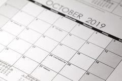 Calendário de Dia das Bruxas com data do 31 de outubro imagem de stock royalty free
