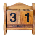 Calendário de Dia das Bruxas no branco Imagem de Stock Royalty Free