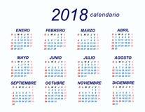 Calendário de 2018 espanhóis ilustração do vetor