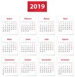 Calendário de 2019 espanhóis no vermelho ilustração royalty free
