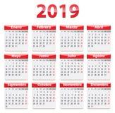 Calendário de 2019 espanhóis vermelho e lustroso ilustração stock