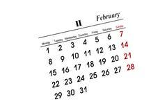 Calendário de fevereiro Foto de Stock