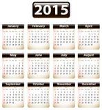 Calendário de 2015 ingleses Fotos de Stock Royalty Free