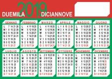calendário de 2019 italianos ilustração do vetor