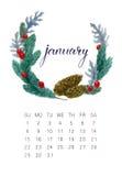 Calendário de janeiro Fotos de Stock