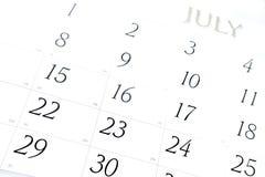 Calendário de julho Fotografia de Stock Royalty Free