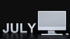 Calendário de julho e fundo do computador - rendição 3D Fotografia de Stock Royalty Free