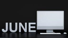Calendário de junho e fundo do computador - rendição 3D Imagem de Stock Royalty Free