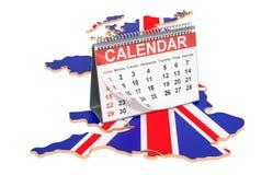 Calend?rio de mesa no mapa do Reino Unido rendi??o 3d ilustração stock