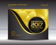 Calendário de mesa por 2017 anos, calendário de mesa da tampa do ouro, livro Foto de Stock