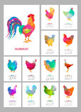 Calendário de mesa por 2017 anos Grupo de 12 meses coloridos de páginas e tampa Baixos galo e galinhas polis abstratos ilustração do vetor