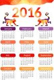 Calendário de mesa 2016 Projeto do vetor Calendar um molde de 12 meses com teste padrão à moda - macaco vermelho feito das formas ilustração royalty free