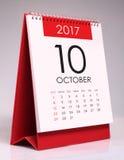 Calendário de mesa simples 2017 - outubro imagens de stock
