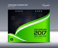 Calendário de mesa verde por 2017 anos, molde do calendário de mesa da tampa, Foto de Stock